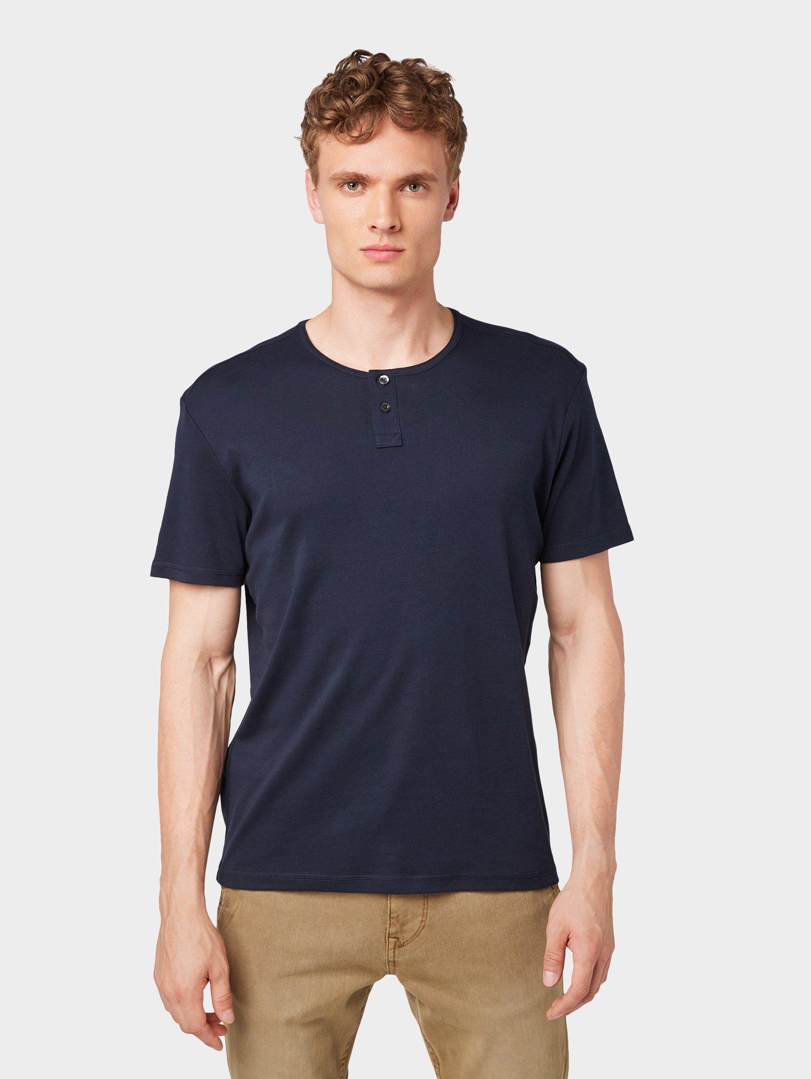 Herren TOM TAILOR T-Shirt »T-Shirt mit Henley-Ausschnitt« blau | 04061946684651
