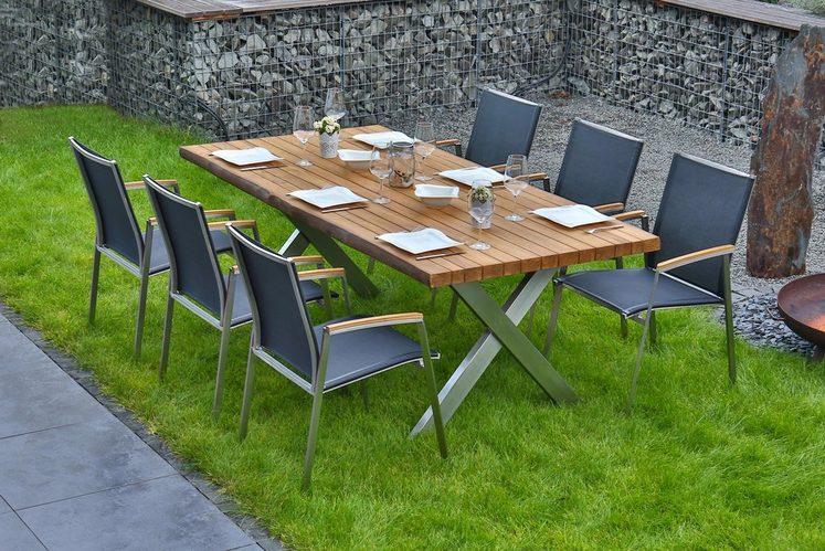 BELLASOLE Gartenmöbelset 7-tlg., 6 Stühle, Tisch 200x100 cm, Teakholz
