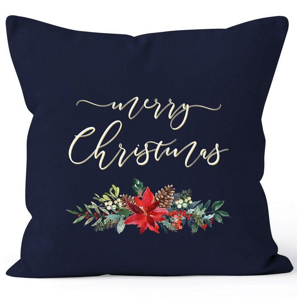 Christmas Xmas  4 Stück Gedruckt Kissen Sitzkissen Beidzeitig Nur Kissenbezug