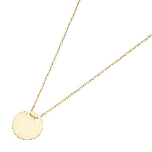 Luigi Merano Goldkette »Anhänger, kleines rundes Plättchen, Gold 375«