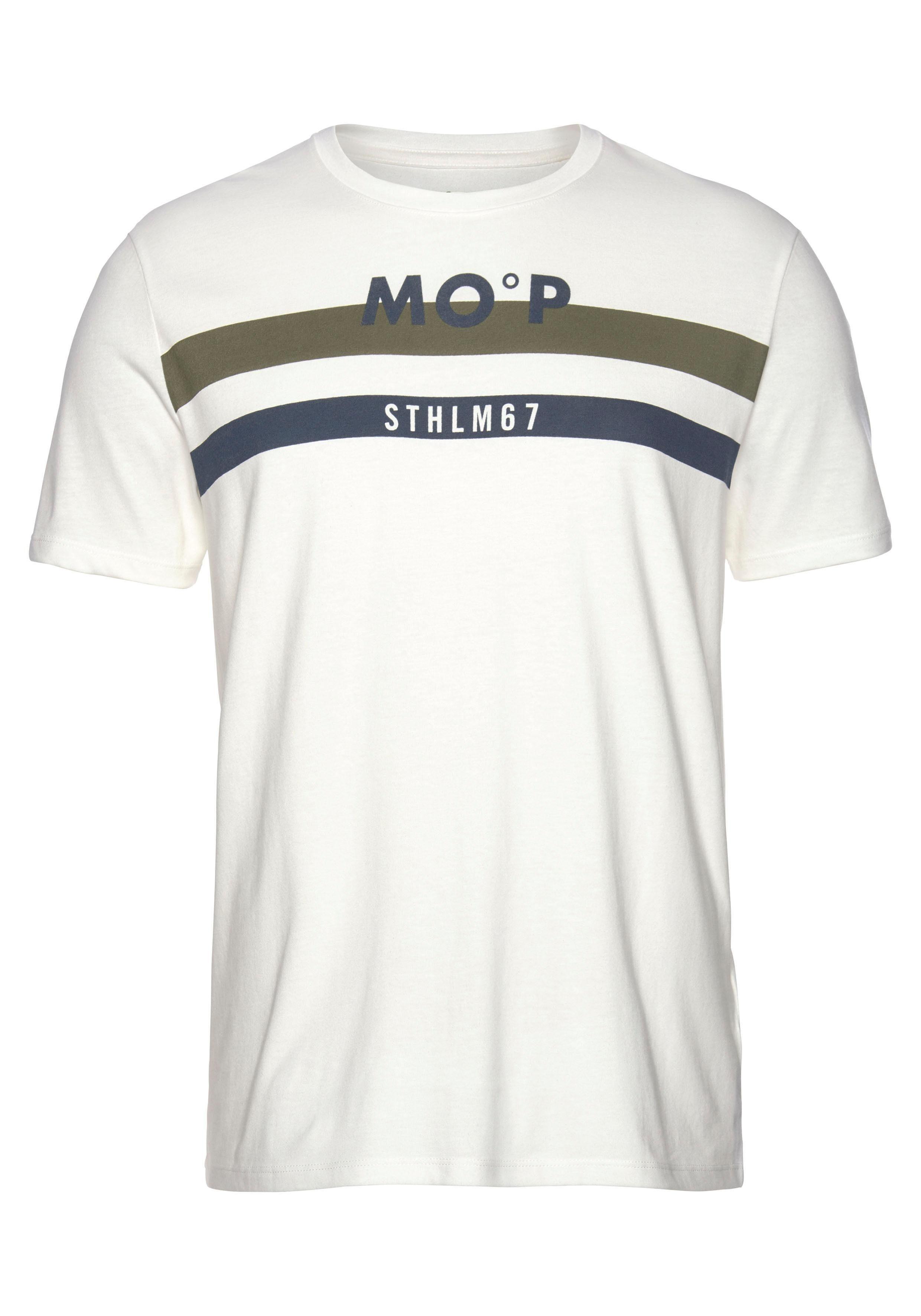 Marc O'Polo T Shirt Streifen kombiniert mit Print Druck online kaufen | OTTO