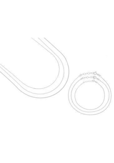 Firetti Ketten und Armband Set »glanz, diamantiert und rhodiniert« (Set, 6 tlg)