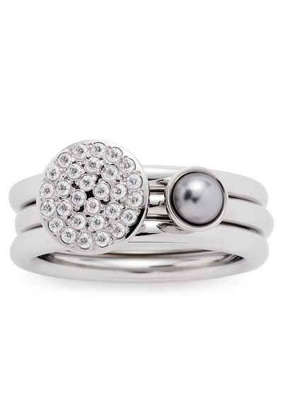 LEONARDO Ring-Set »Micca, 016961, 016962, 016963« (Set, 2-tlg), mit Zirkonia und imit. Perle