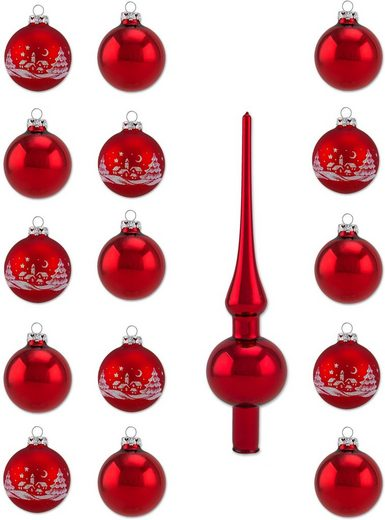 Thüringer Glasdesign Weihnachtsbaumkugel »Rot« (16 Stück), Made in Germany