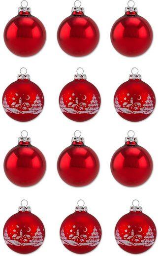 Thüringer Glasdesign Weihnachtsbaumkugel »Rot« (12 Stück), Made in Germany
