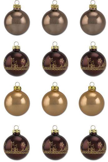 Thüringer Glasdesign Weihnachtsbaumkugel »Cappuccino« (12 Stück), Made in Germany