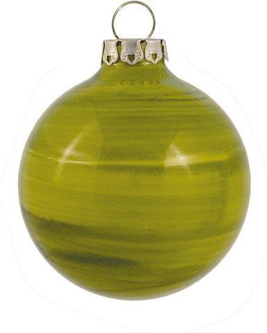Thüringer Glasdesign Weihnachtsbaumkugel »Holzoptik« (8 Stück), handdekoriert, Made in Germany