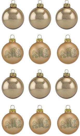Thüringer Glasdesign Weihnachtsbaumkugel »Gold Glanz« (12 Stück), Made in Germany