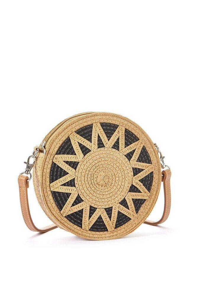 lascana -  Umhängetasche, Kleine Strandtasche, Minibag in modischer Bastoptik und runder Form