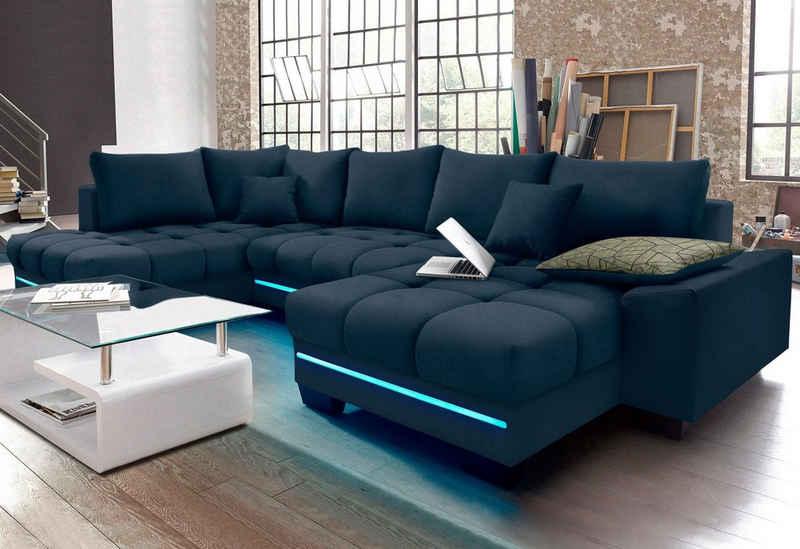 Nova Via Wohnlandschaft »Nikita 2«, Wahlweise mit Kaltschaum (140kg Belastung/Sitz), mit RGB-LED-Beleuchtung, Bluetooth-Soundsystem und Bettfunktion