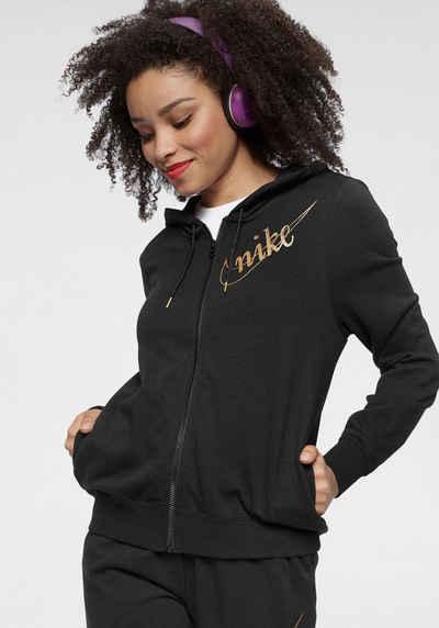Nike Sportswear Kapuzensweatjacke »W Nsw Hoodie Fullzip Flc Glitter« Goldfarbene Details