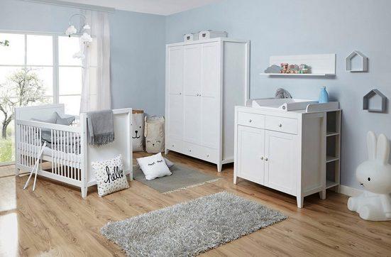 Ticaa Babyzimmer-Komplettset »Rosa«, (Set, 5-tlg), Bett + Wickelkommode + Schrank + Wandregal + Anstellregal