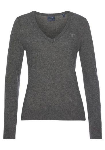 Gant V-Ausschnitt-Pullover mit klassischer Logo Stickerei auf der Brust