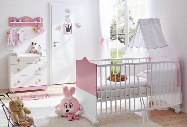 Ticaa Babymöbel-Set »Prinz/Prinzessin«, Bett + Wickelkommode + Wandregal | Kinderzimmer > Kinderzimmerregale | Rosa | Ticaa