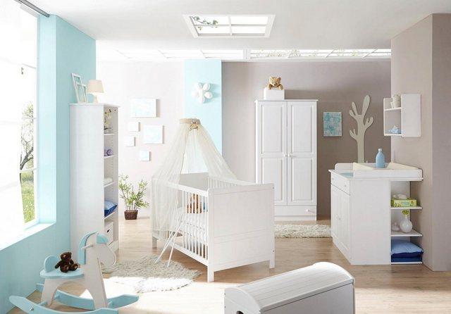 Babyzimmer - Ticaa Babyzimmer Komplettset »Moritz«, Bett Wickelkommode Schrank Unterstellregal Standregal  - Onlineshop OTTO