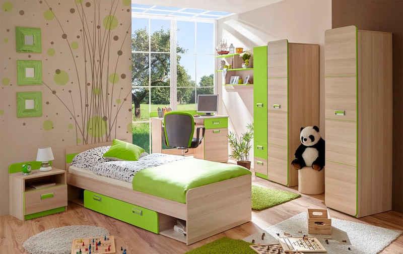 Ticaa Jugendzimmer-Set »Lori«, (Set, 6-St), Bett + Schrank + Schreibtisch + Standregal + Wandregal + Nachttisch