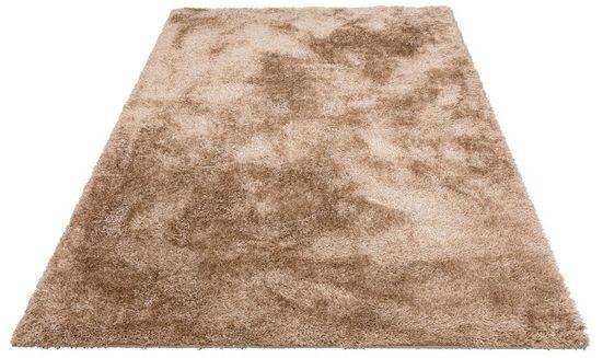 Hochflor-Teppich »Malin«, Home affaire, rechteckig, Höhe 43 mm, Shaggy, Uni Farben, leicht glänzend, besonders weich durch Microfaser, Wohnzimmer