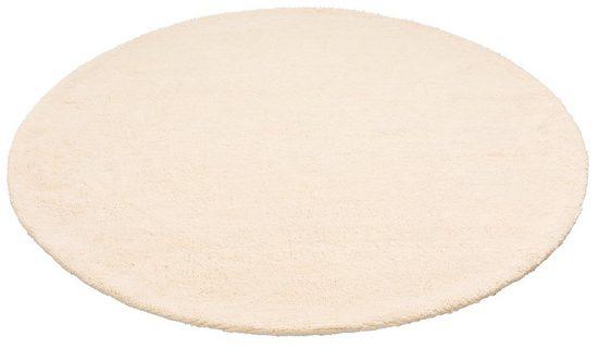 Wollteppich »Mohan«, DELAVITA, rund, Höhe 25 mm, reine Wolle, Woll-Shaggy, handgeknüpft, Wohnzimmer
