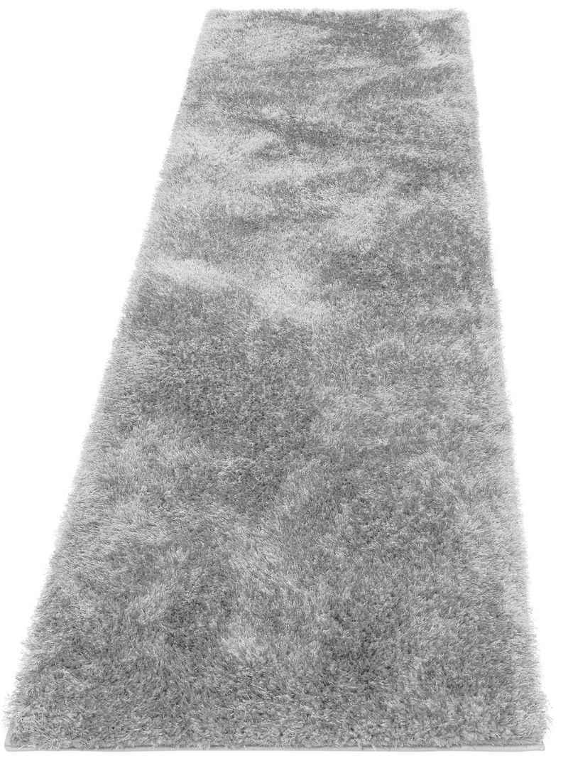 Hochflor-Läufer »Malin«, Home affaire, rechteckig, Höhe 43 mm, Shaggy, Uni Farben, leicht glänzend, besonders weich durch Microfaser