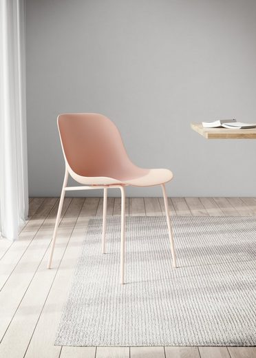 OTTO products Schalenstuhl »Lorrel« 2er Set, aus 25 % recyceltem Ocean Waste Plastik, mit einem rosafarbenem Metallgestell, Sitzhöhe 46 cm