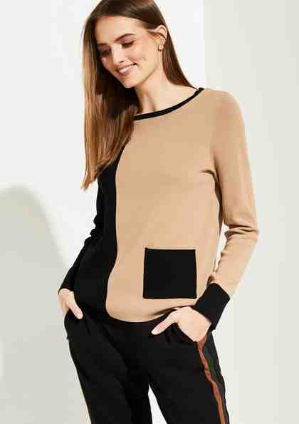 Comma Feinstrickpullover im Two Tone-Look