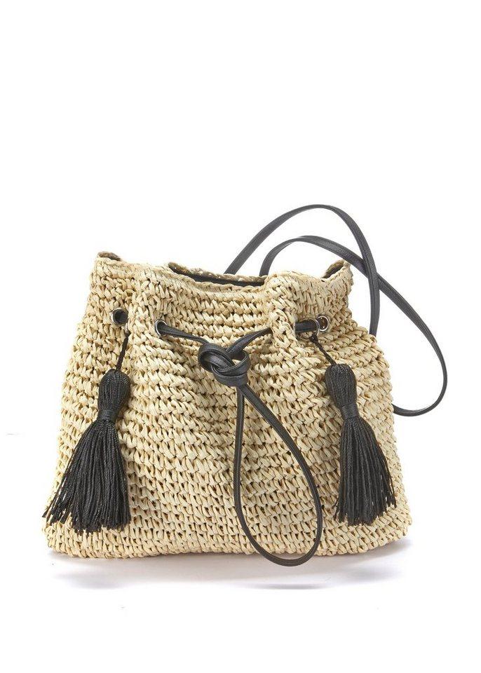 lascana -  Umhängetasche, Strandtasche aus leichtem Papierstroh mit modischen Tasseln