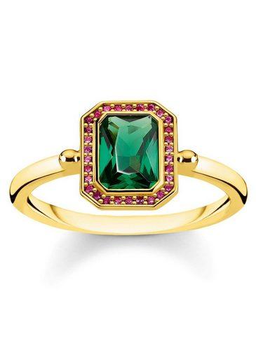 THOMAS SABO Fingerring »Steine rot & grün Gold, TR2264-973-7-52, 54, 56, 58, 60«, mit Glassteinen und synth. Korund