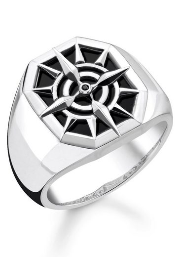 THOMAS SABO Silberring »Kompass, TR2274-641-11-52, 54, 56, 58, 60, 62, 64, 66, 68«, mit Onyx und Zirkonia