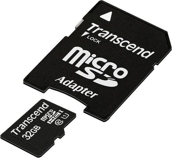 Transcend »microSDXC/SDHC Class 10 UHS-I + SD Adapter« Speicherkarte (32 GB, Class 10, 45 MB/s Lesegeschwindigkeit)