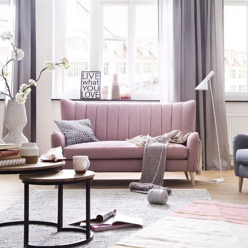 KAWOLA 3-Sitzer Sofa Stoff rosa »SETTA«, Maße (B/T/H): 167 ...
