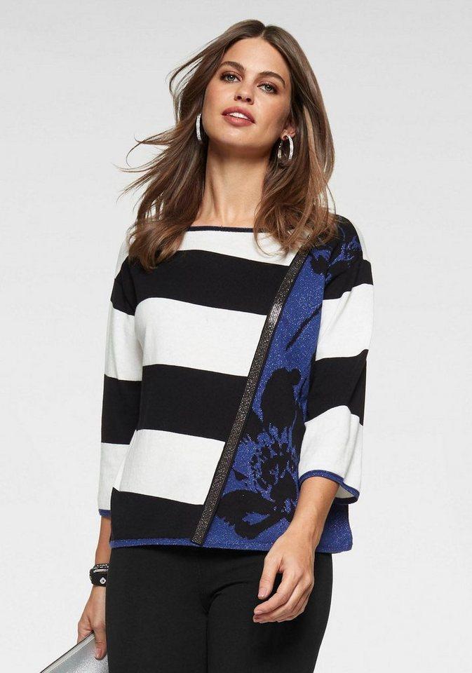 Monari 3/4 Arm-Pullover mit Mustermix und Glitzerdetails | Bekleidung > Pullover > 3/4 Arm-Pullover | Blau | Monari