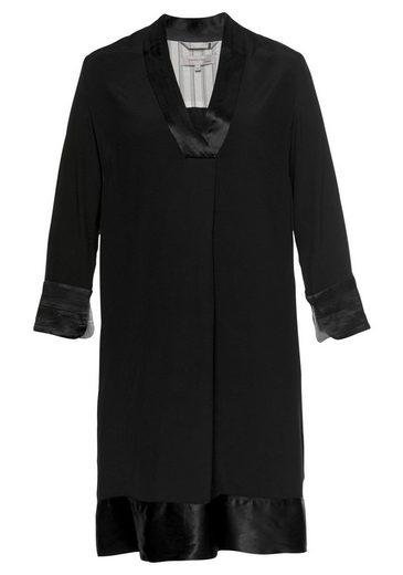 NOA NOA A-Linien-Kleid mit schöner Satin-Blende an Ausschnitt und Säumen
