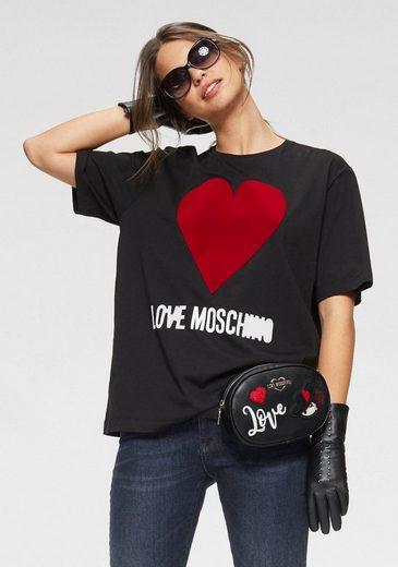 LOVE MOSCHINO T-Shirt mit Herz - Applikation