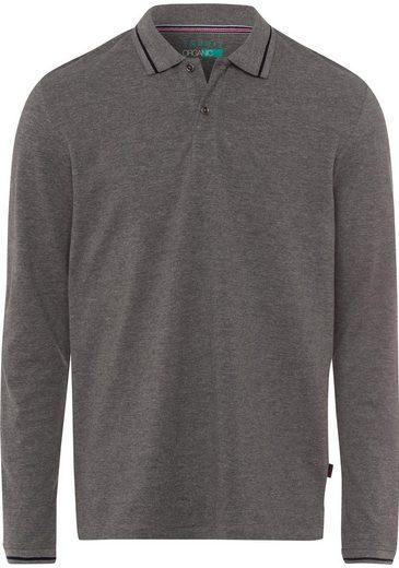 Esprit Langarm-Poloshirt mit schmalem Kontraststreifen auf dem Kragen