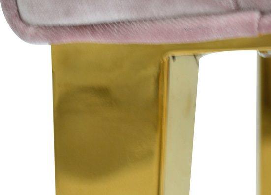 Leonique Stuhl »Pinky« mit Knopfheftung am Rücken und goldfarbenen Metallfüßen