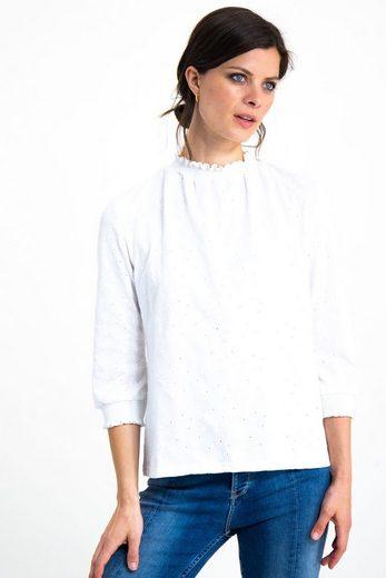 Garcia T-Shirt mit Ton-in-Ton Blattstickerei