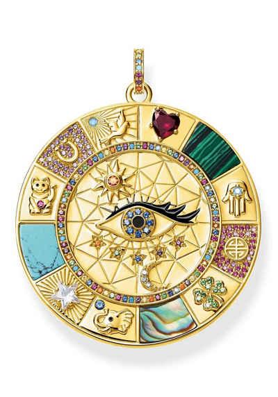 THOMAS SABO Kettenanhänger »Amulette magische Glückssymbole, PE855-993-7«, mit Perlmutt, Emaille, imit. Malachit, imit. Türkis, synth. Spinell, synth. Korund, Glassteinen und Zirkonia