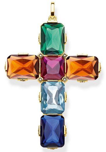 THOMAS SABO Kettenanhänger »Kreuz farbige Steine gold groß, PE858-996-7«, mit synth. Korund, synth. Spinell, Glassteinen und Zirkonia