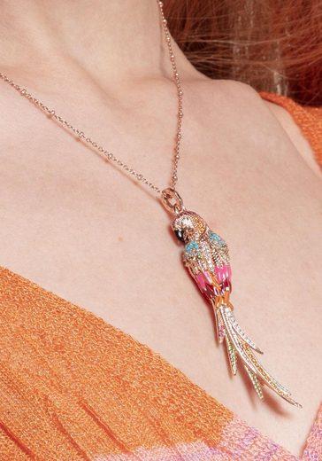 THOMAS SABO Kettenanhänger »Papagei rosé  PE802-384-7«  mit Emaille  synth. Korund  Glassteinen und Zirkonia