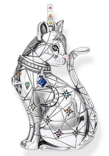 THOMAS SABO Kettenanhänger »Katze Sternenbild, PE857-340-7«, mit Emaille, synth. Korund, synth. Spinell, Glassteinen und Zirkonia
