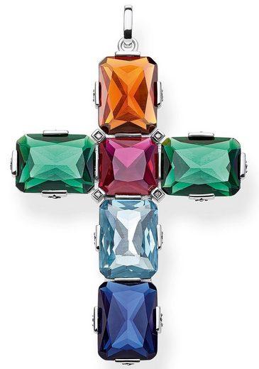 THOMAS SABO Kettenanhänger »Kreuz farbige Steine silber groß, PE858-318-7«, mit synth. Korund, synth. Spinell, Glassteinen und Zirkonia