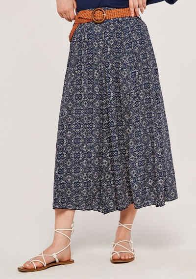 Apricot Sommerrock »Mosaic Crinkle Belted Skirt« (2-tlg., mit abnehmbarem Gürtel) mit Flechtgürtel