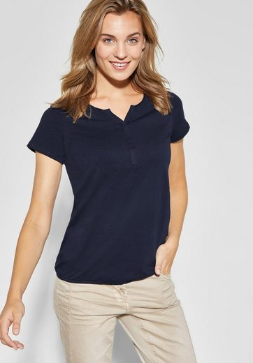 Cecil T-Shirt mit geschlitztem Rundhalsausschnitt