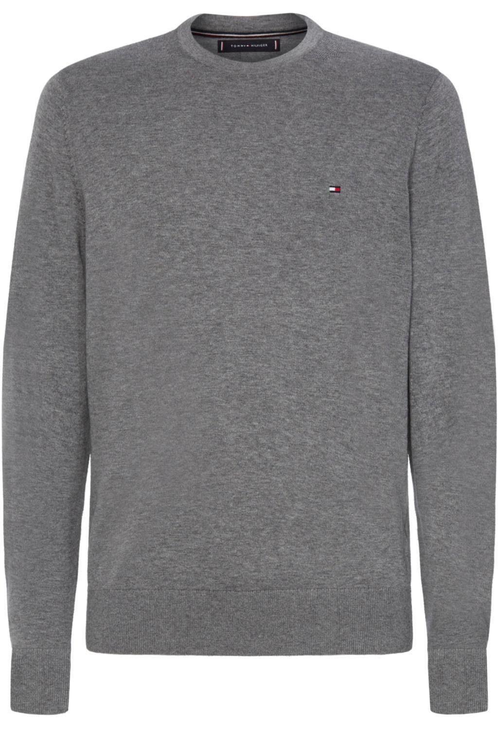 Tommy Hilfiger T Shirt aus Organic Cotton Silber meliert
