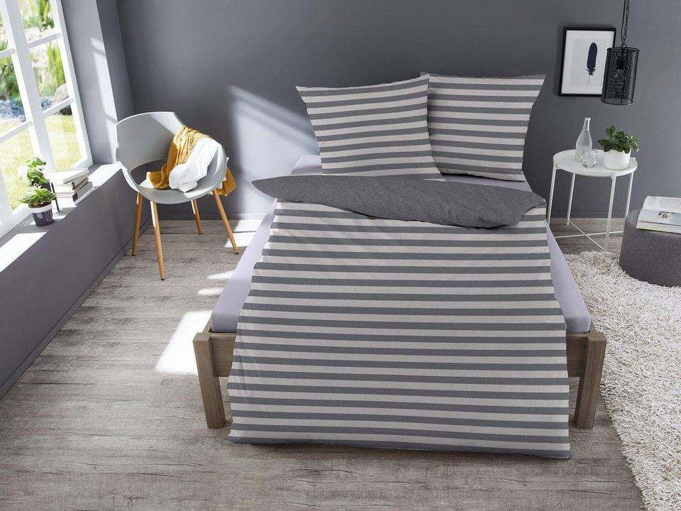 wendebettw sche streifen dormisette mit unifarbener. Black Bedroom Furniture Sets. Home Design Ideas