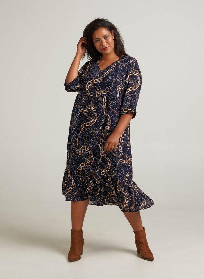 Festtagsmode - Zizzi Abendkleid Damen Große Größen Kleid Elegant 3 4 Arm Falten 7 8 Maxikleid ›  - Onlineshop OTTO