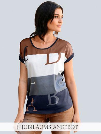 Alba Moda Rundhalsshirt im Materialmix