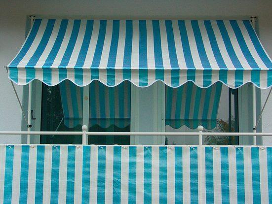 ANGERER FREIZEITMÖBEL Wind- und Sichtschutz Meterware, blau/weiß, H: 90 cm