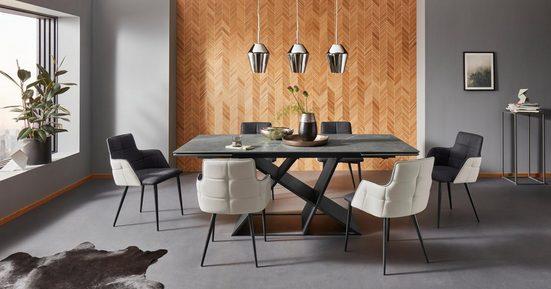 Places of Style Esstisch »EMME-A«, mit einer besonderen Keramiktischplatte und schönem schwarzen Metallgestell, inklusive einer praktischen Auszugsfunktion