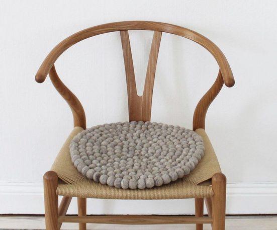 Wooldot Sitzkissen »Uni Color«, rund, Filzkugel-Teppich, reine Wolle, auch als Set bestellbar